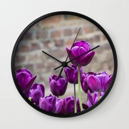 Purple tulips 2 Wall Clock