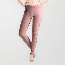 Pink Gold Liquid Marble Leggings