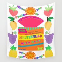 bread Wall Tapestries featuring Pop Art Bread & Fruits by Artbrightcy