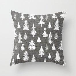 Pine Forest on Dark Linen Throw Pillow