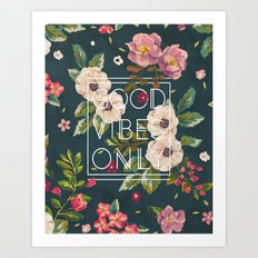 Good Vibes Only // Floral Typography Art Print
