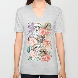 Because Sloths Watercolor Unisex V-Neck