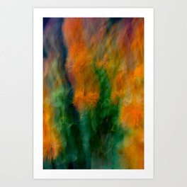 Fleur Blur-Abstract Orange Safflowers & Green Leaves Art Print