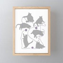 Fat Gray Cats and Yarn Framed Mini Art Print