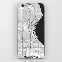 milwaukee iPhone & iPod Skins featuring Milwaukee Map Gray by City Art Posters
