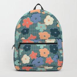 Peach and Aqua Flower Grid Backpack