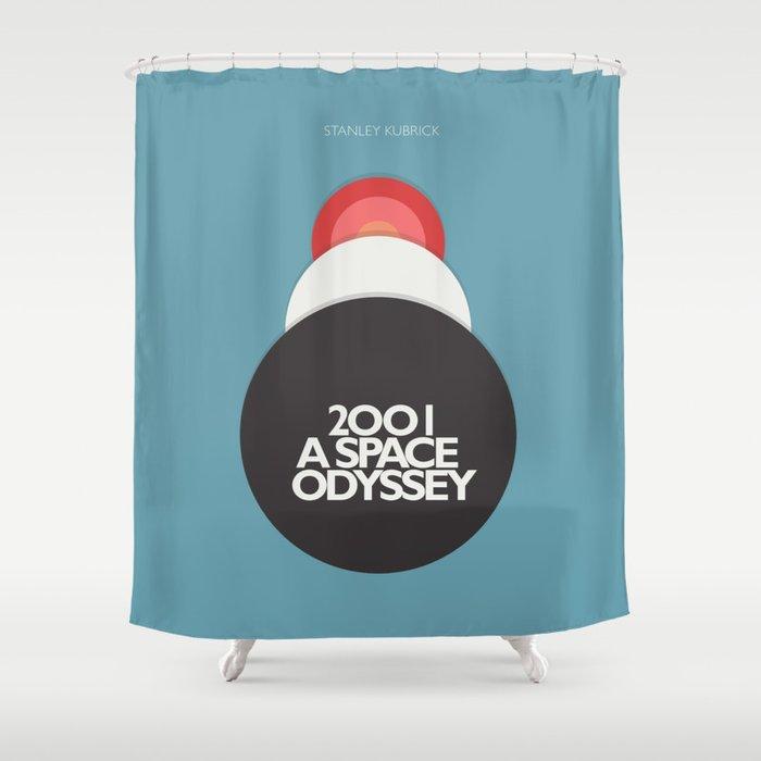 2001 a Space Odyssey - Stanley Kubrick, minimal movie poster, rétro film playbill, sci-fi Shower Curtain