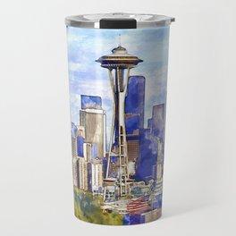 Seattle View in watercolor Travel Mug