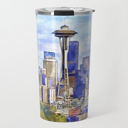 Seattle View in watercolor Travel Mug
