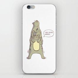 cute cat - letter A (I will work harder) iPhone Skin