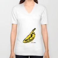 velvet underground V-neck T-shirts featuring Durian Underground by ariefarfarf