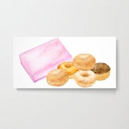Watercolor donuts and gift box Metal Print