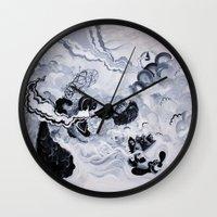 inception Wall Clocks featuring Panda Inception by Mark Adamusik