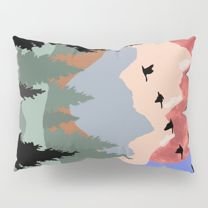 Mountain Geese Scene Pillow Sham