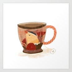 Goldfinch Teacup Art Print