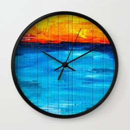 Backpack Firestorm Over Water with UK Flag Wall Clock