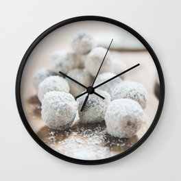 White Coconut Sweets Made from Dates   Food Photography Wall Art Print Wall Clock