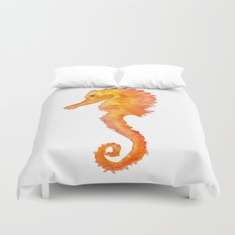 Seahorse Watercolor Painting - Orange Ocean Animal Duvet Cover