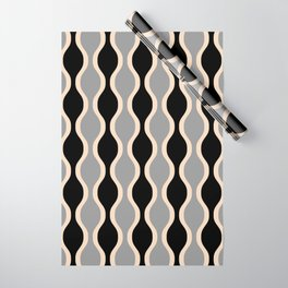 Classic Retro Ogee Pattern 937 Black and Gray Wrapping Paper
