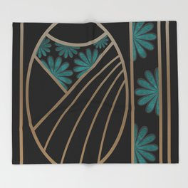 ART DECO FLOWERS (abstract) Throw Blanket