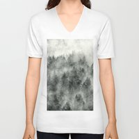 feathers V-neck T-shirts featuring Everyday by Tordis Kayma