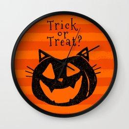 Trick or Treat? Halloween cat lady Wall Clock