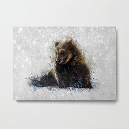 Brown Bear In The Snow Metal Print
