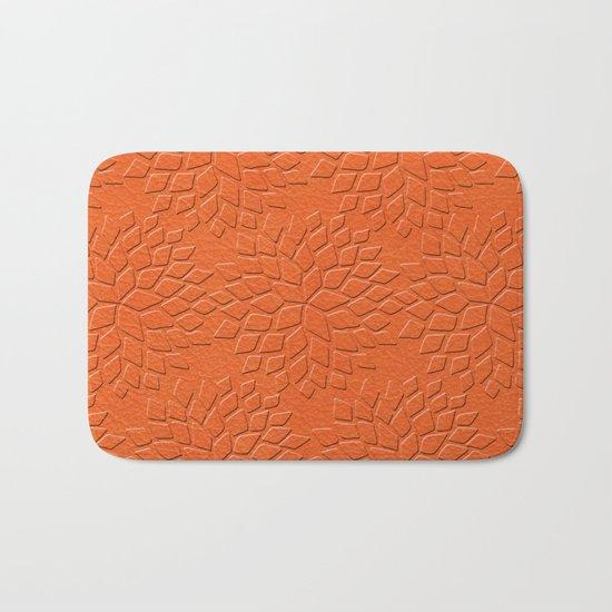 Leather Look Petal Pattern - Flame Color Bath Mat
