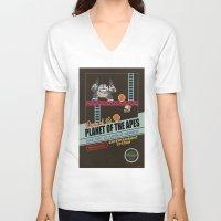 ape V-neck T-shirts featuring Ape not kill ape by Berta Merlotte
