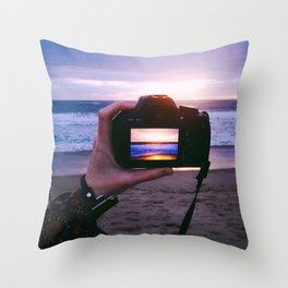 Photographing Sunset Throw Pillow