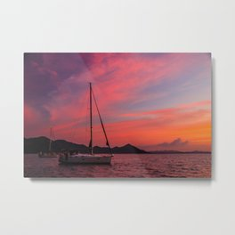 Sailing Boats Against a Purple Sky Metal Print