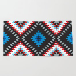 Colorful patchwork mosaic oriental kilim rug with traditional folk geometric ornament. Tribal style Beach Towel