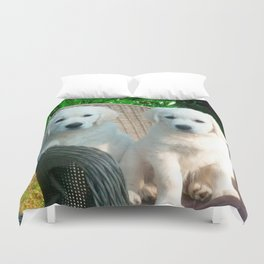 White Golden Retriever Dogs Sitting in Fiber Chair Duvet Cover