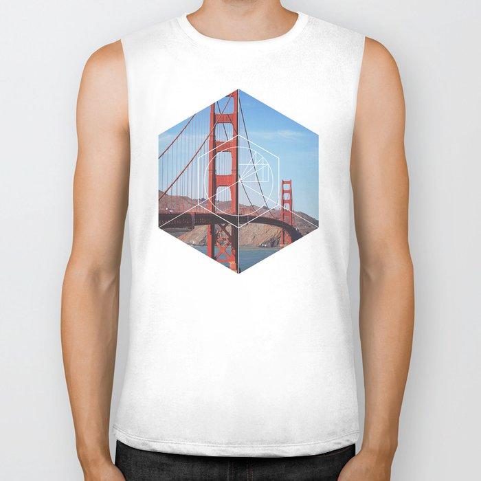 Golden Gate Bridge - Geometric Photography Biker Tank