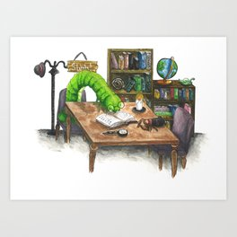Little Worlds: The Library Art Print