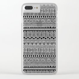 Hand Drawn African Patterns - Black & White Clear iPhone Case