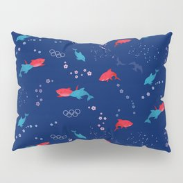 Blue Dolphin and Red Shark Olympic Pillow Sham