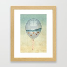 balloon fish o2, freedom in a bubble Framed Art Print