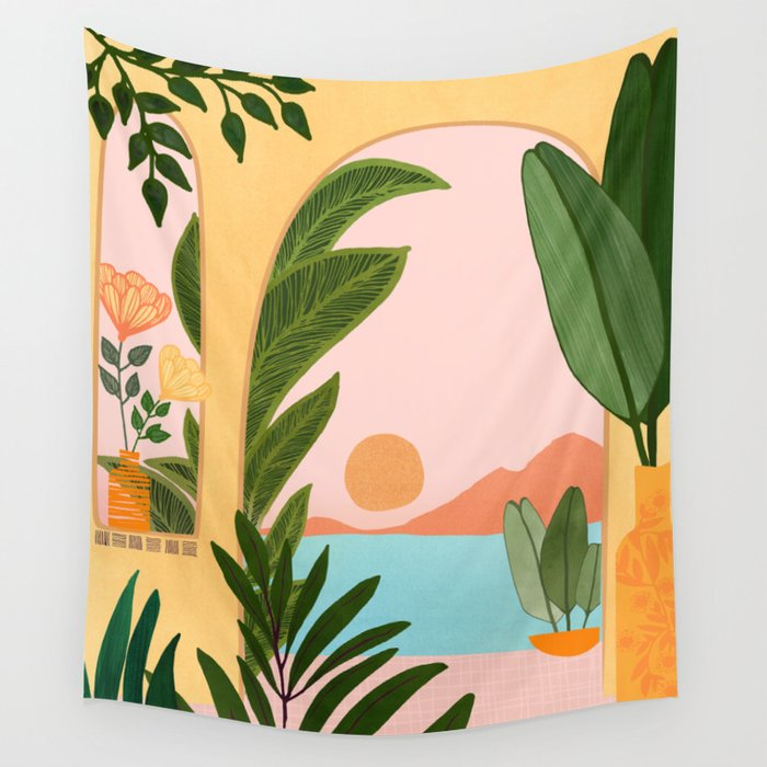 Moroccan Coast - Tropical Sunset Scene Wall Tapestry