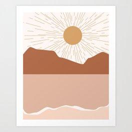 Sunrise Blush Beach Art Print