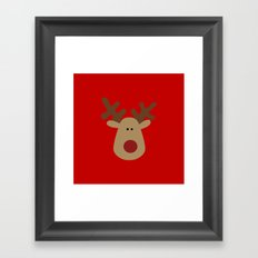 Christmas Reindeer-Red Framed Art Print
