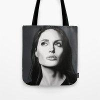 angelina jolie Tote Bags featuring Angelina Jolie by Liliana Corradini