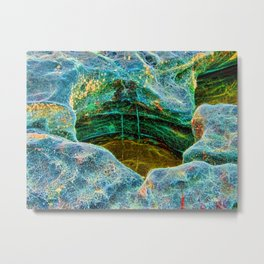 Abstract rocks with barnacles and rock pool Metal Print