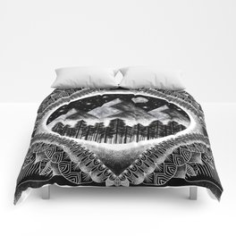 Moon, Mountains, and Stars Geometric Black and White Comforters