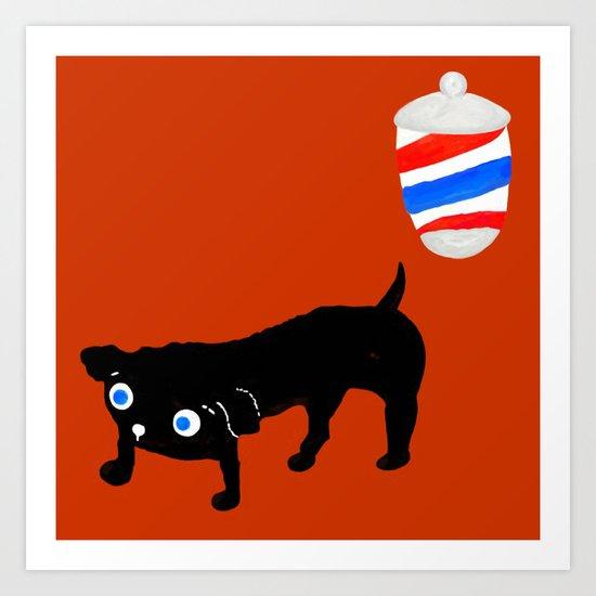 Hairdresser's black dog Art Print