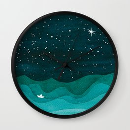 Starry Ocean, teal sailboat watercolor sea waves night Wall Clock