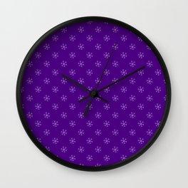 Lavender Violet on Indigo Violet Snowflakes Wall Clock