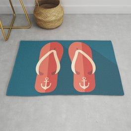 Red Beach Flip Flops Rug