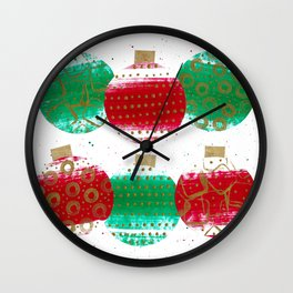 Christmas Ornaments Red And Green Wall Clock