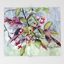 Branch With Blossoms Watercolor Throw Blanket